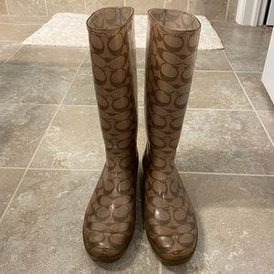 Coach Rainboots (tan/brown) — size 9